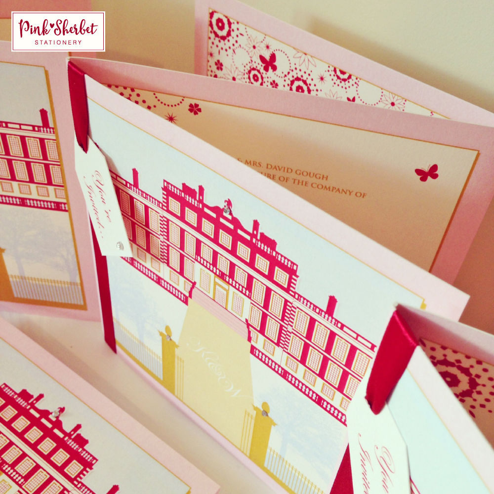 A selection of our Knowsley Hall inspired wedding invitations ...